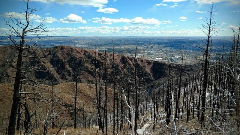 Overlook into Waldo Canyon, with evidence of the wildfire in 2012.