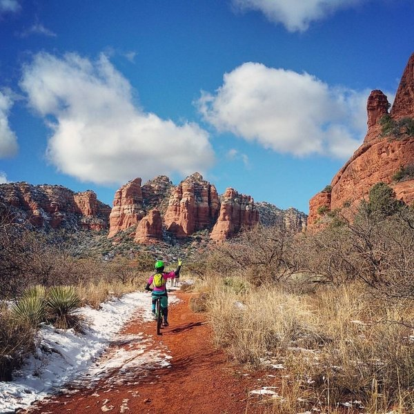 I love Sedona with snow, along the Bell Rock Trail!