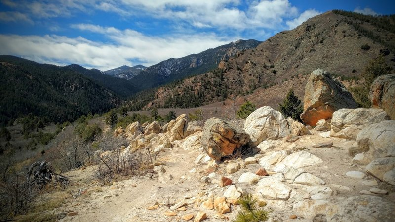 Rocky obstacles along the trail.