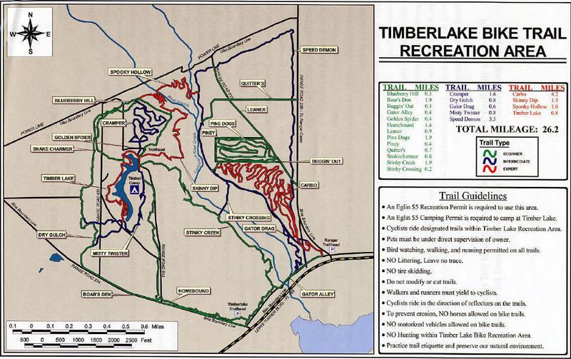 The extensive Timberlake Bike trail system. Main trailhead is on Range Road.