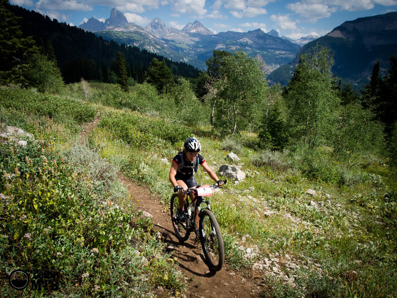 Unknown rider on the Buffalo Soldier trail during the 2014 Pierre's Hole 50/100 Mile Race at Grand Targhee Resort in Alta, WY.<br> Photo: Dana Ramos - Instagram: @dnasince1979