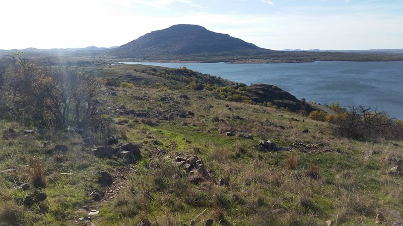 Awesome views of Lake Lawtonka and Mount Scott in the Wichita Mountain Wildlife Refuge. This is looking back (west) as I'm heading east on the Orange Loop.