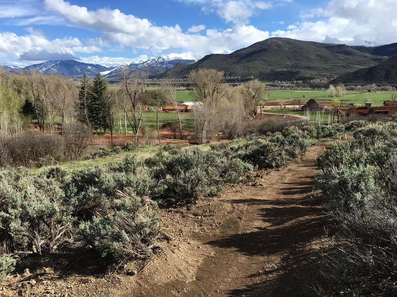 Heading back down the Red Canyon Trail. Aspen Highlands in the distance, Aspen Valley Ranch in the foreground.
