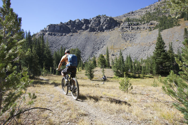A riders nearing the head of the Middle Fork of Little Timber Creek.