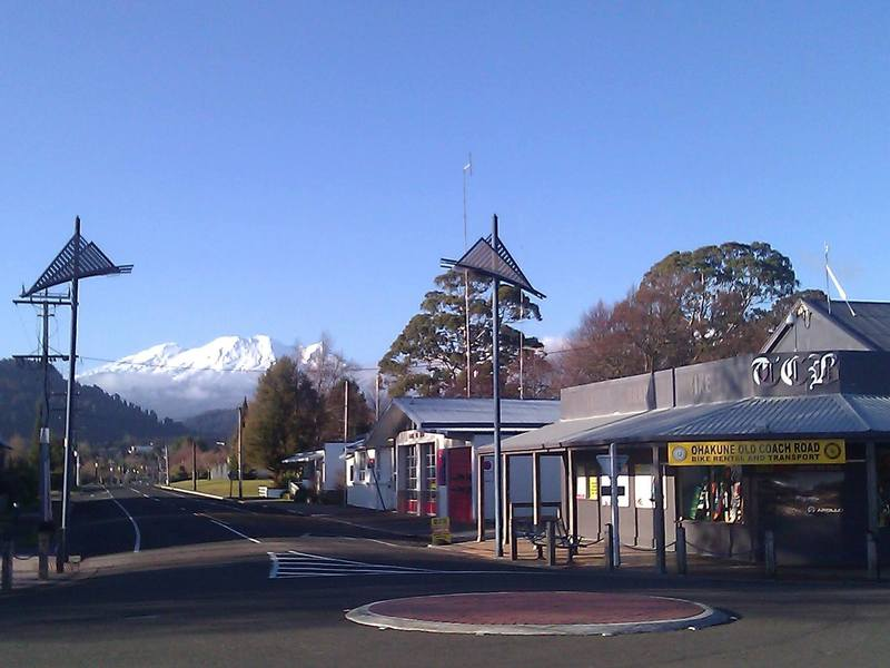 Mt Ruapehu stands tall over Ohakune.
