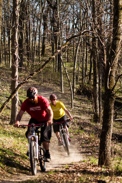 Sunrise Trail, Coon Rapids, IA<br> Photo Credit: Greg Mazu<br> Riders: James Flatten, Stephan Adams<br> Singletracktrails.com