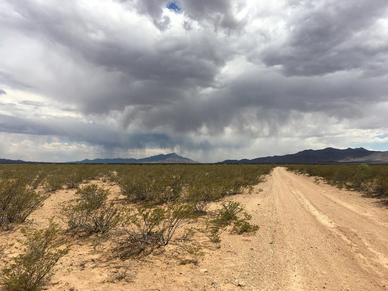 A rare late spring time rain storm is seen over the Hatchet Mountains near the beginning of the trail.