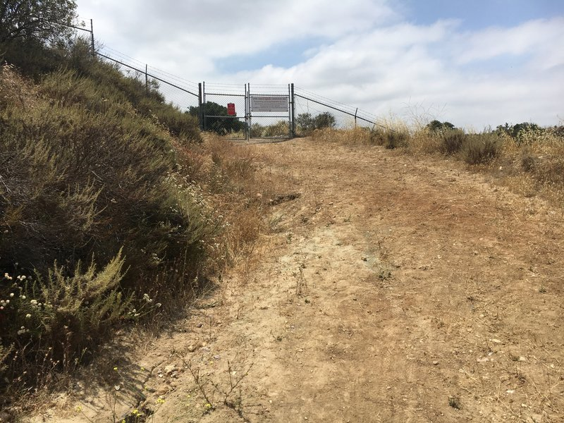 Westridge Trail is blocked here. You can turn right and go down the hill to join Tijeras Creek, or turn around and go back.