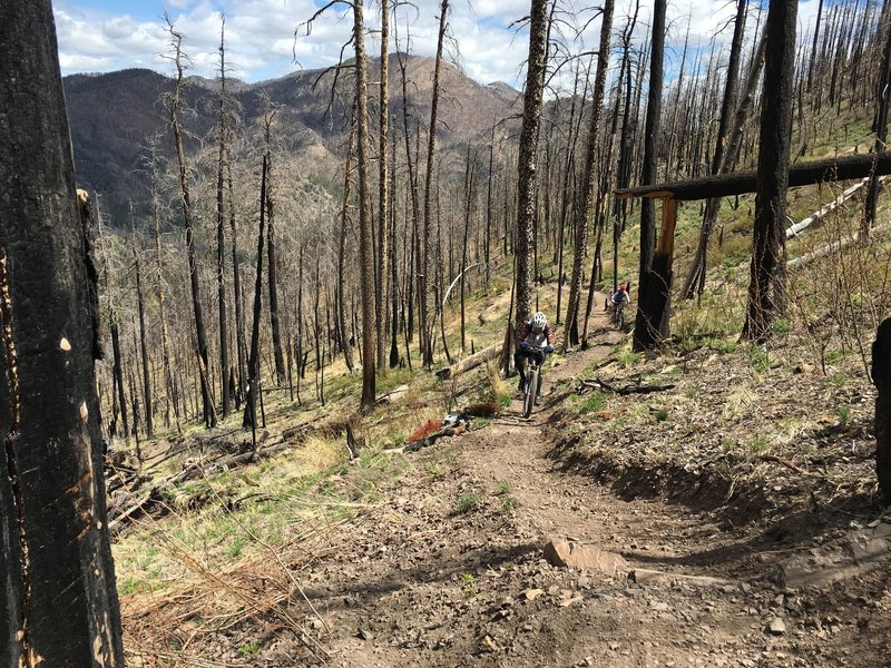 Suffering up a robust climbing section with the mountains that surround Emory pass in the background.