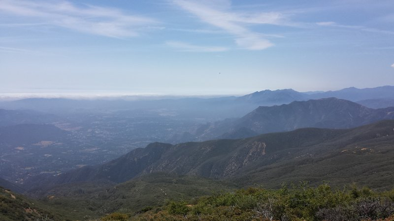 In a better day, you could see the ocean. Nordhoff peak is on the right