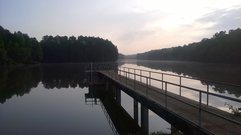 The reservoir dam - an early morning photo of the glassy water!