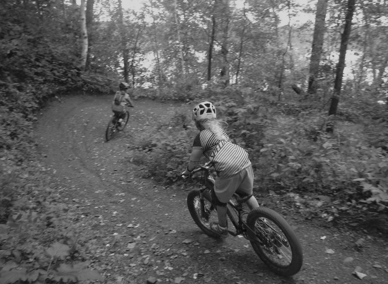 Five year old Flyer - Ripping down the berms of Screamer.
