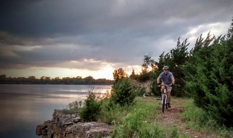 A rider bikes along the South Loop trail at Lehigh Portland Trails.