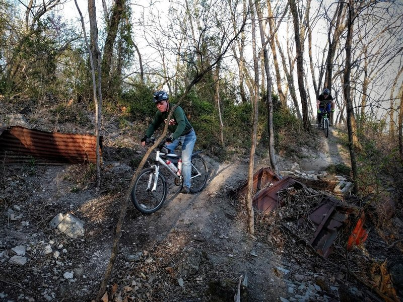 Riders dodge industrial debris on the Mountain Goats Trail at Lehigh Portland Trails.