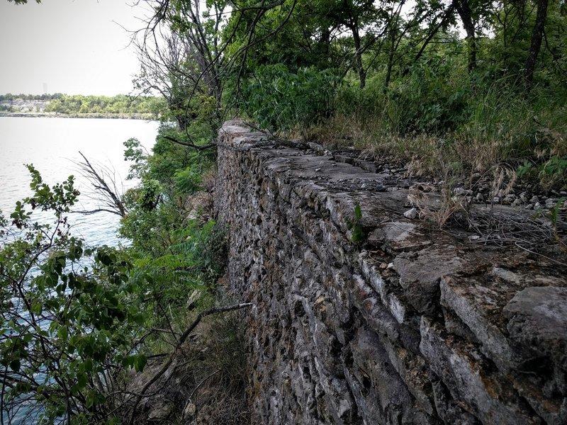 Rock wall over Lake Lehigh along the Lakeside West Trail at Lehigh Portland Trails.