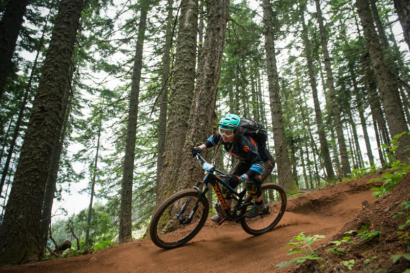 Hannah Bergemann focuses on the best line on Grand Prix (158) during the Cascadia Dirt Cup.