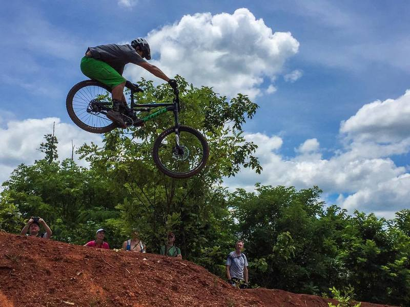 Tyson Swasey getting big air on the Devil's Racetrack, Knoxville, TN. Photo by Matt Jernigan.