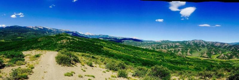 Atop Skyline Ridge Trail between Snowmass and Aspen. A couple of steep sections.