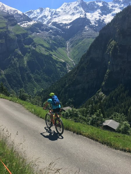 Cruising the short paved stretch from Murren to Gimmelwald.