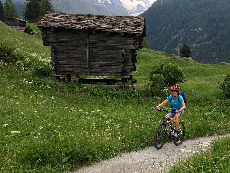 A typical stone-roofed barn found all around Zermatt