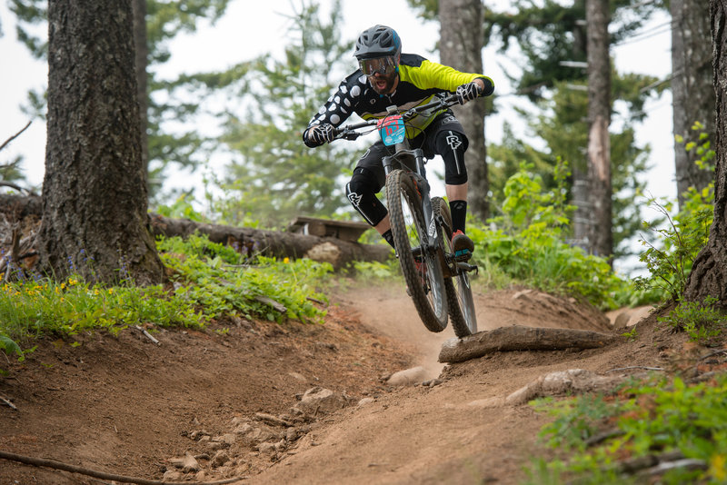 Chris Andreasan reacts to the fast terrain on 2 Chair (160) during the Cascadia Dirt Cup.