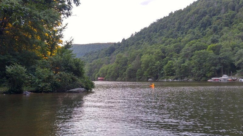 Swimming hole at the bottom of the great Mont Chateau downhill.