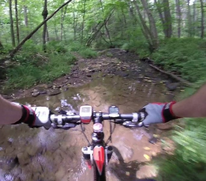 Creek crossing first person crest cam.