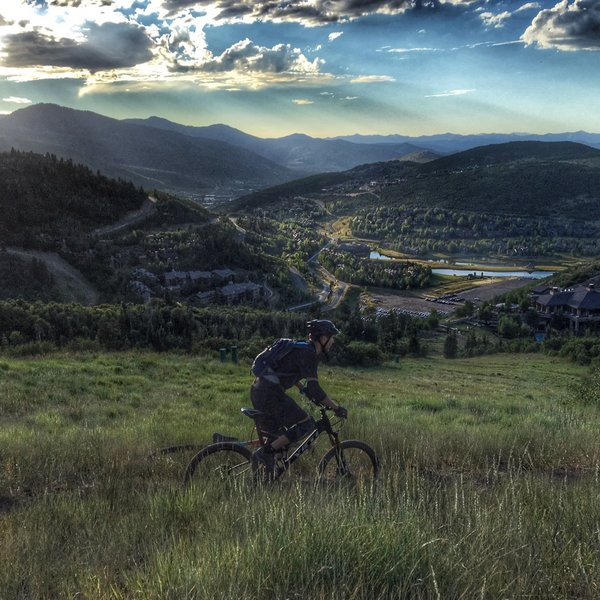 Evening ride on mid-mountain, Park City.