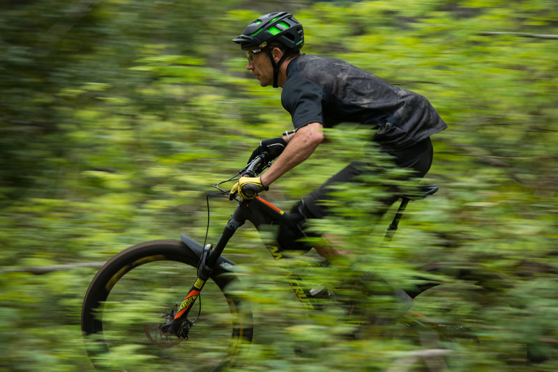 A racer pedals hard through the upper Ken A (170) during day one of the Cascadia Dirt Cup.