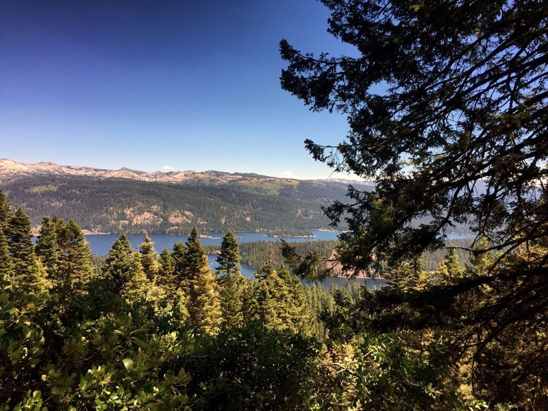Glimpses of Payette Lake and Ponderosa Park along the trail.