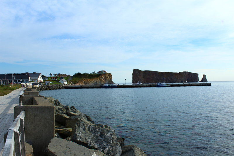Perce Rock near the start line on the wharf.