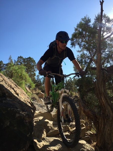 The author descends down the crux of Rusty.