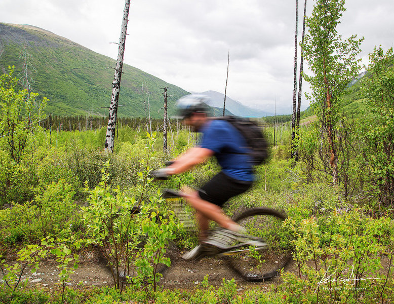 Riding through the Lower Russian Lake valley.
