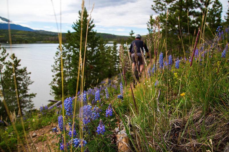 Riding the Peninsula Trail along Dillon Reservoir.