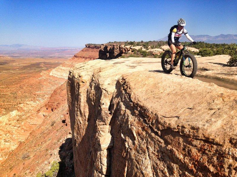 Susan Bryan riding the fatty on Gooseberry Mesa UT