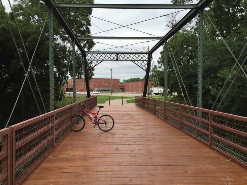 A really neat bridge on the path to the Levee Trail.