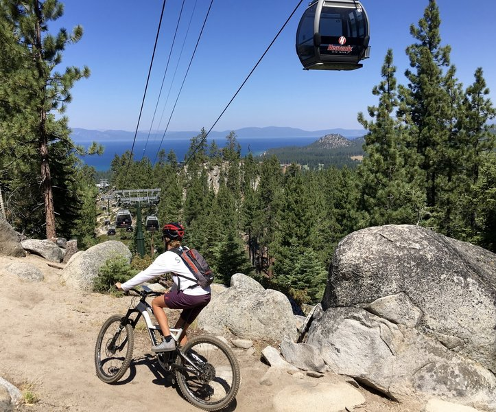 Riding the Cal-Neva Loop under the Heavenly Gondola