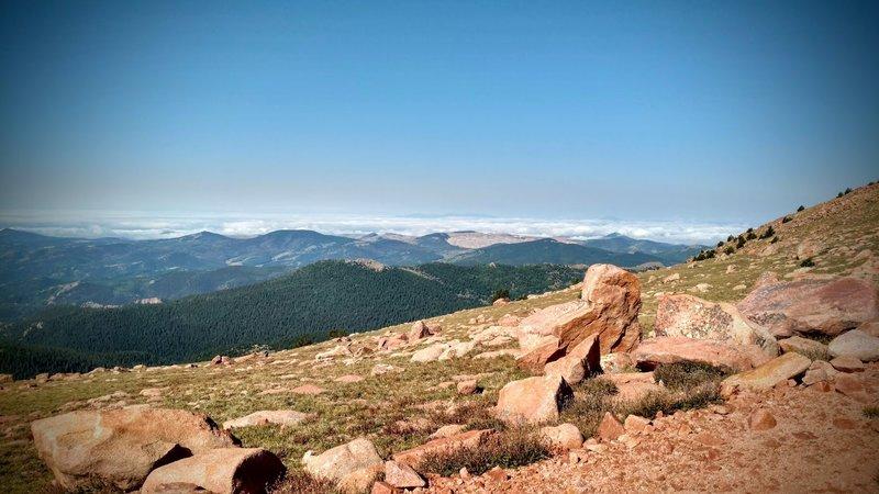 View westward from S. Almagre Peak toward Cripple Creek mine.