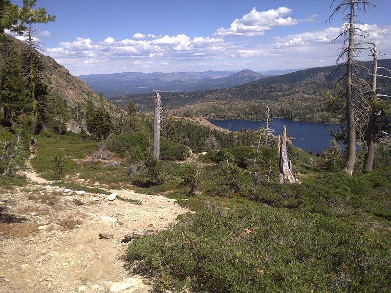 Nice singletrack, looking towards Long Lake and Mills Peak.