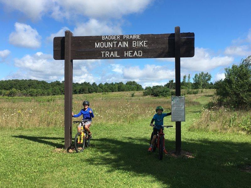 Badger Prairie Mount Bike Trailhead.