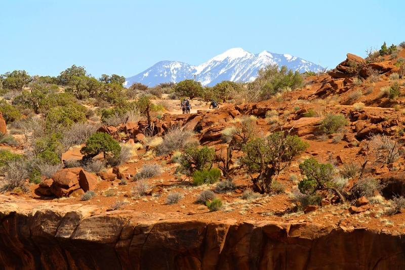 Getting into it on our first day on the White Rim with the snowy La Sals in the distance.