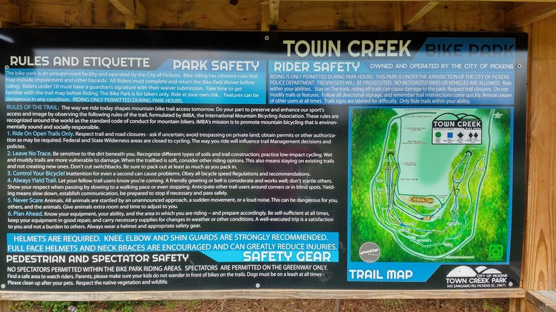 Park rules and map sign.