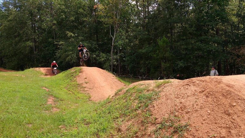 Getting air on the dirt jumps.
