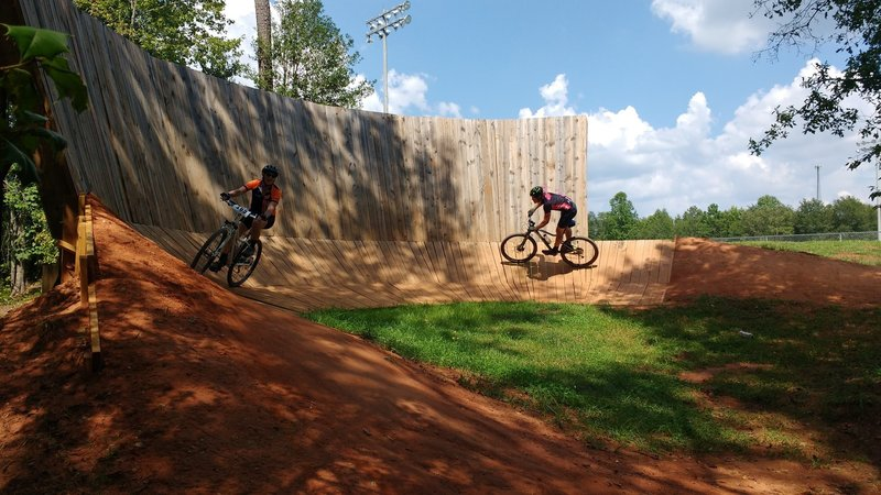 Riding the wall.