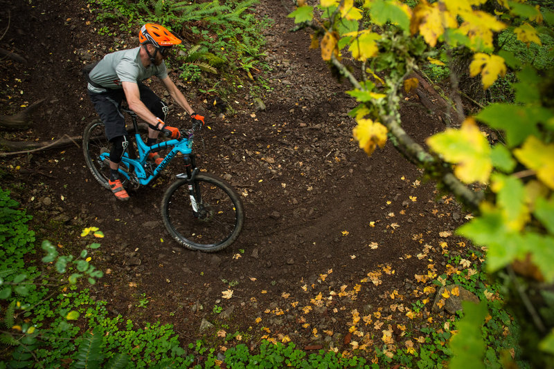 Tyler Littlefield makes quick work of this off-camber turn on Cold Creek Trail.