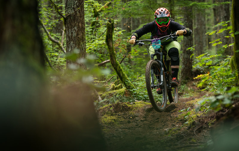 Erin Roe keeps things low and fast through the trees on Thrillium.