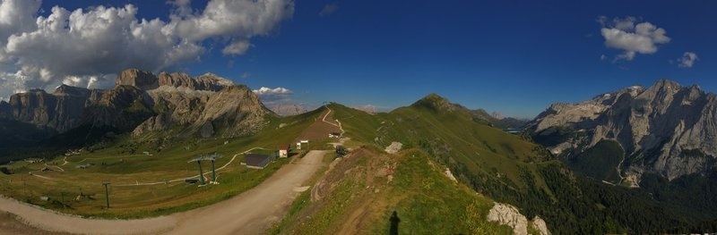 The views from the top of the tram at Fassa Bike Park are out of this world.