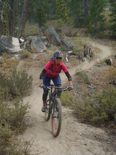 Cruising the buffed trail.