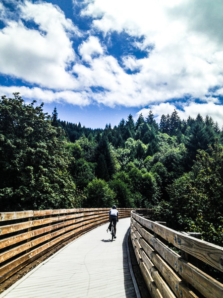 Crossing the Buxton Trestle on the Banks-Veronia State Trail.