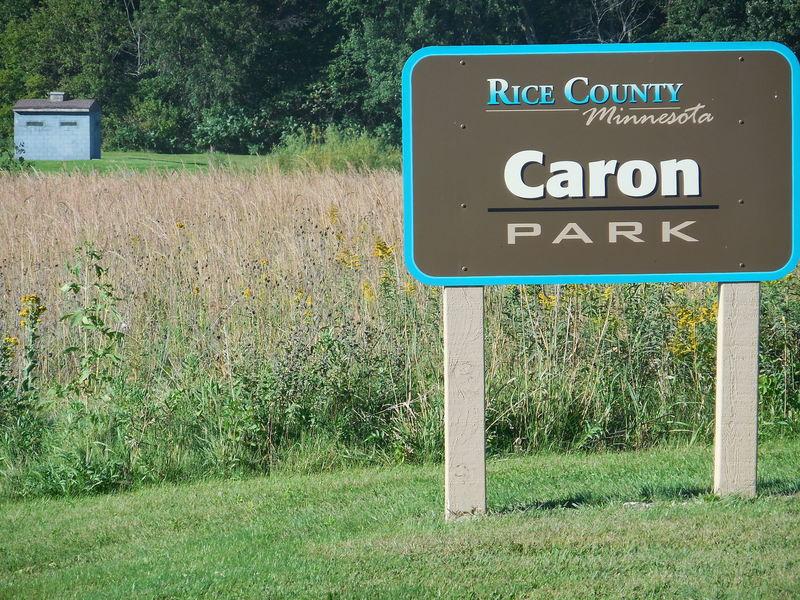 Entrance sign to Caron Park.